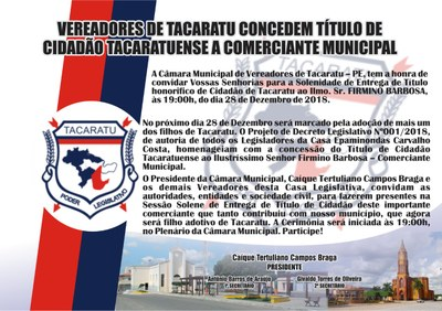 CONVITE TITULO CIDADÃO TACARATUENSE